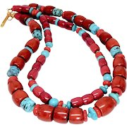 Large Enhanced Red Coral and Chinese Turquoise Necklace