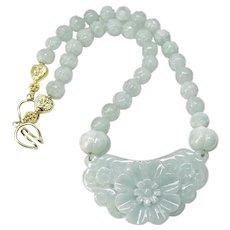 Carved Natural Blue Jade Flower, Carved Jade Necklace