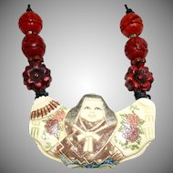 Carved Bone Chinese Lady Necklace