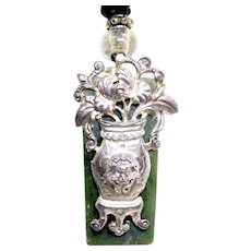 Antique  Chinese Silver Garment Ornament, Dark Green Etched Jade Pendant Necklace