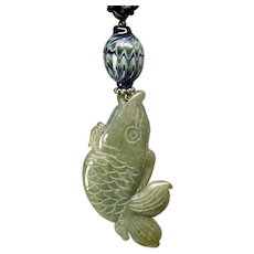 Carved Natural Green Jade Fish Hand Blown Glass Bead Pendant Necklace
