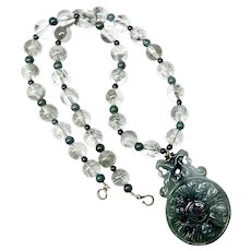 Carved Green Jade 5 Bats and Phoenix, Rutilated Quartz Necklace