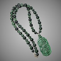 Carved Dark Green Jade Phoenix, Zoite Necklace 14K