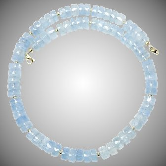 High Quality Faceted Aquamarine Necklace, 14K Gold