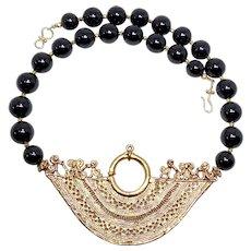 18K Gold Vermeil Peruvian Inca Reproduction Pendant with Black Onyx Necklace