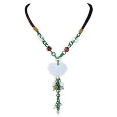 Carved Jade Lock, Burgundy Cord Pendant Adjustable Pendant Necklace