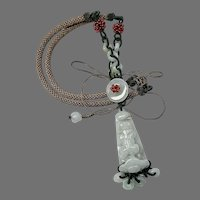 Bluish Carved Jade Dragon Adjustabe Necklace