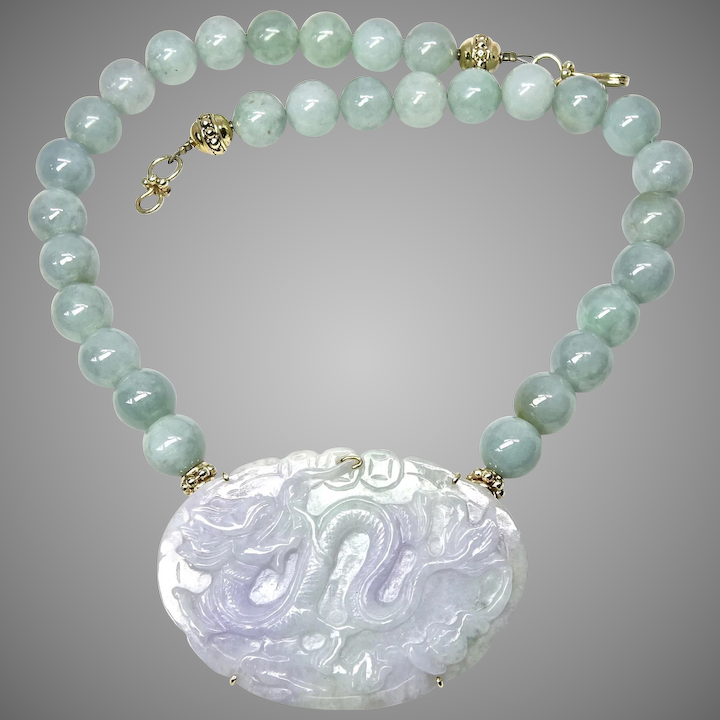 fc806a4e7 Carved Lavender and Green Jade Dragon, Burmese Jade Necklace : Carol  Barrett Jewelry | Ruby Lane
