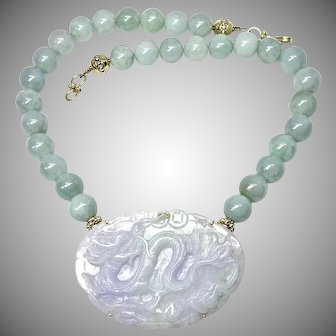 Carved Lavender and Green Jade Dragon, Burmese Jade Necklace