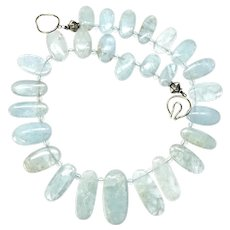Stunning Natural Aquamarine Drops Necklace