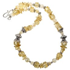 Citrine and Fancy Silver Necklace