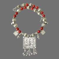 Indian Silver Amulet, Tibetan Red Glass Necklace