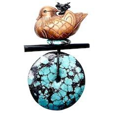 Carved Boxwood Mandarin Duck Netsuke, Turquoise Pendant Necklace