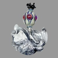 Carved Chinese Jade Fish Pendant Necklace