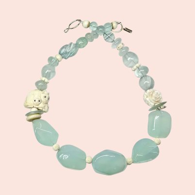 Amazing Carved Bone Cats, Green Chalcedony Necklace