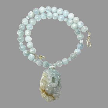 Rare Stunning Translucent Blue Jade Dragon, Aquamarine Necklace