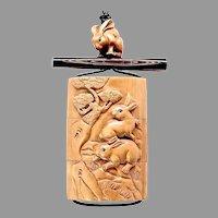 Carved Boxwood Rabbit Inro Box Pendant Necklace