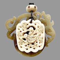 Carved Serpentine Dragon, Carved Bone Bird Pendant Necklace