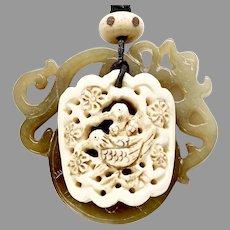 Carved Serpentine Dragon, Carved Bone Bird Pendant Necklace