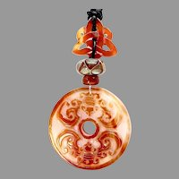 Carved Carnelian Agate Double Bats Pendant Necklace