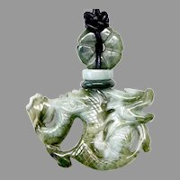 Carved Natural Green Jade Dragon Pendant Necklace