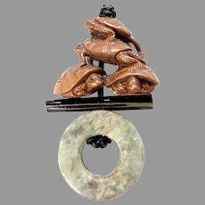 Vintage Serpentine Archer's Ring, Boxwood Turtle Netsuke Pendant Necklace