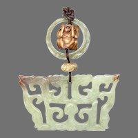 Serpentine Double Dragons, Boxwood Monkeys Pendant Necklace