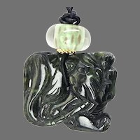 Hand Carved Chinese Spinach Jade Dragon Necklace