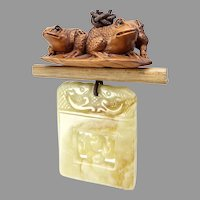 Serpentine Double Fish, Boxwood Frogs Pendant Necklace
