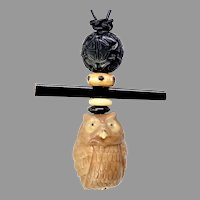 Carved Tagua Owl, Jet Long Life Pendant Necklace