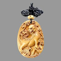 Chinese Carved Boxwood Dragon  Pendant Necklace