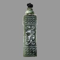 Vintage Green Jade Dragon Belt Buckle Pendant Necklace