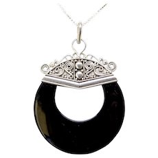 Vintage Indonesian Silver and Black Onyx Pendant Necklace