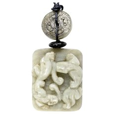 Carved Stone Double Dragon Pendant Necklace