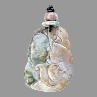 Carved Green and Rose Jasper Fish, Lotus Pendant Necklace