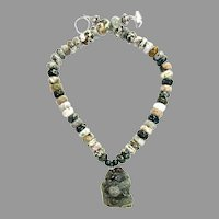 Carved Green Jade Dragon & Pig, Faceted Jasper Necklace
