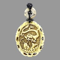 Carved Chinese Decorated Bone Pendant Necklace