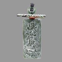 Vintage Etched Green Jade Goddess Pendant Necklace