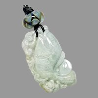 Carved Green Jade Fish, Lamp Work Glass Pendant Necklace