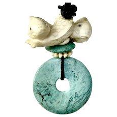Carved Bone Three Fish Netsuke, Turquoise Pi Pendant Necklace