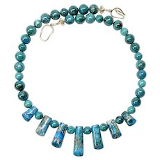 Stunning Imperial Variscite Jasper and Chrysocolla Necklace