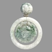 Carved Green and White Jade Double Dragon Pendant Necklace