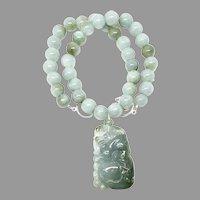 Fabulous Hand Carved Green Jade Cat, Burmese Jade Necklace