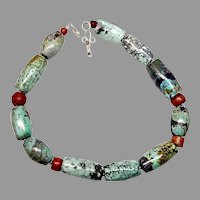 Stunning Large Chinese Natural Turquoise Barrel Necklace