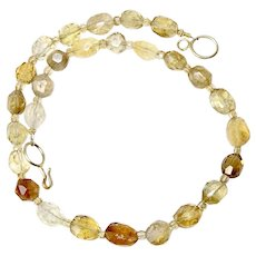 Sparkly Multicolor Faceted Citrine Nugget Necklace