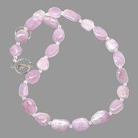 Gorgeous Pink Lavender Tumbled Kunzite Necklace