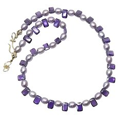 Lavender Rice Pearls and Sparkly Purple Cubic Zirconia Drops Necklace