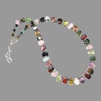 Exceptional Quality Multicolor Rainbow Tourmaline Necklace