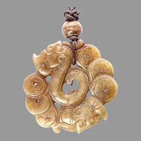 Carved Chinese Vintage Jade Dragon Pendant Necklace