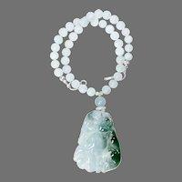 Carved Translucent Jade Double Cat, Aquamarine Necklace